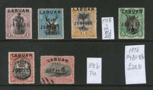 Malaya S. Setts. Labuan 1896 SG 83-88b set of 6 MH (except 88b FU)