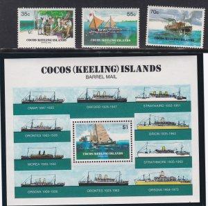 Cocos Islands # 111-113 & 114, Barrel Mail 75th Anniversary, NH, 1/2 Cat.
