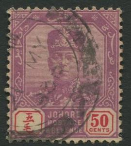 Malaya-Johore -Scott 116 - Sultan Ibrahim - 1921-40 - FU - Single 50c Stamp