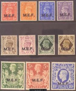 1943 British Occupied Middle East Forces Definitives, set of 11, SG M11-21, MH