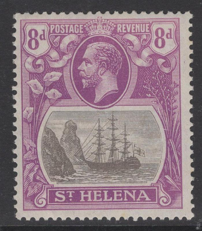 ST.HELENA SG105a 1923 8d GREY & BRIGHT VIOLET BROKEN MAINMAST MTD MINT