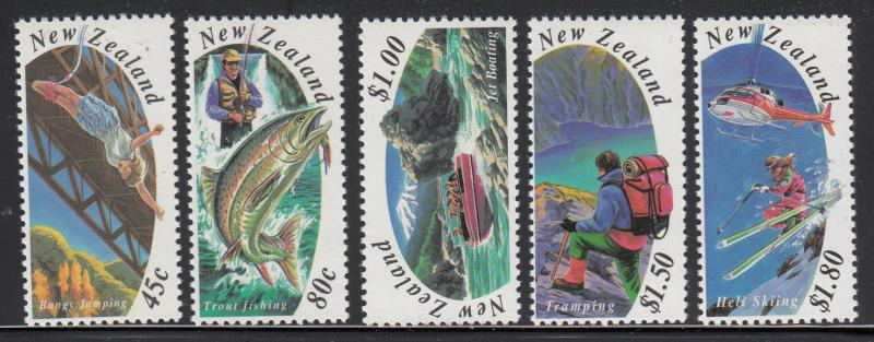 New Zealand 1994 MNH #1192-#1196 Outdoor Adventure Sports Bungy jump, Fishing...