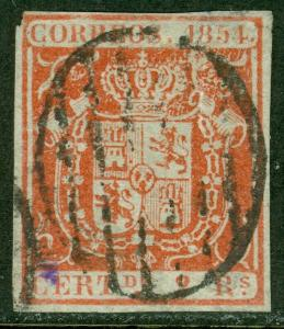 EDW1949SELL : SPAIN 1854 Scott #28 Very Fine, Used. Tear at top. Catalog $120.00