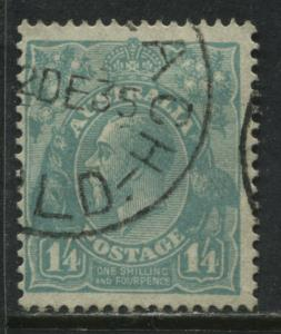 Australia KGV Head 1928 1/4d pale turquoise blue CDS used