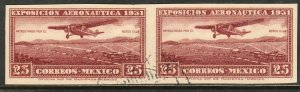 MEXICO C37a, 25¢ HORIZONTAL IMPERF. PAIR. USED. F-VF. (128)