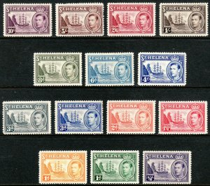 1938-40 St Helena Badge of the Colony set MMH remnants Sc# 118 / 127 CV: $101.45