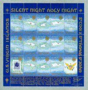 US Virgin Islands. Christmas Sheet 1987. First Issue.Map. DWI Imprint X-Mas Seal