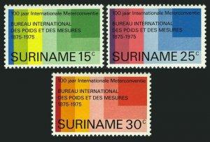 Surinam 421-423,MNH.Michel 695-697. International Meter Convention,100,1975.