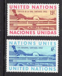 United Nations  New York  #194-195  1969  MNH  UN building  Santiago