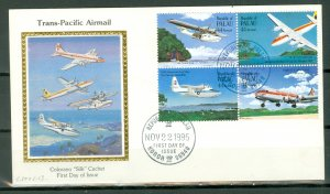 PALAU AIR #C10-13 SET with COLORANO SILK CACHET on FDC