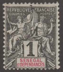 Senegal, stamp, Scott# 35, MH, Grey/black, red letters, perf, 14.0X13.5,  #M481