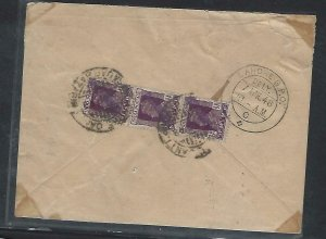 PAKISTAN (P0209B) 1948 OVPT LOCAL HAND STAMP ON SERVICE 1 1/2AX3 COVER TO LAHORE