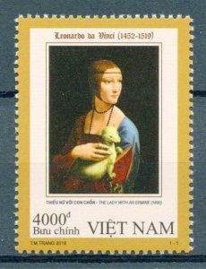 Vietnam Art Stamps 2019 MNH Leonardo Da Vinci Lady with Ermine Paintings 1v Set