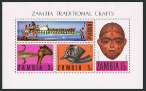 Zambia 69a,MNH.Michel Bl.1. Traditional Crafts 1970.Ceremonial axe,Bowl-antelope