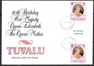 TUVALU 1980 Queen Mother's 80th Birthday Issue GUTTER PAIR Sc 137 Cachet FDC