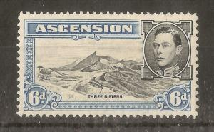 Ascension 1944 6d SG43b P13 Mint Cat£12
