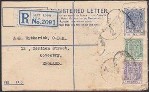 MAURITIUS 1925 20c registered envelope uprated used to UK ex Port Louis.....Q765