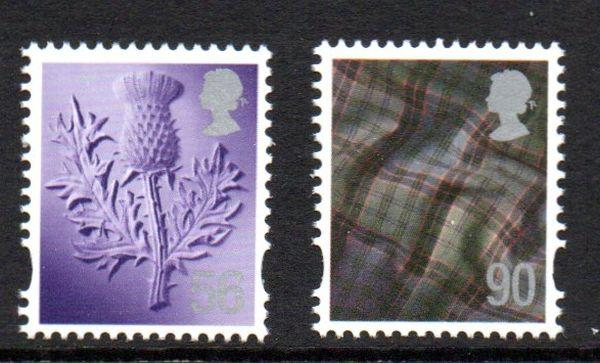 Great Britain Scotland Sc 33-4 2009 56p thistle & 90p tartan stamp set mint NH