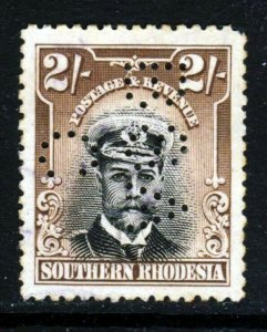 SOUTHERN RHODESIA KG V 1924 Admirals Issue 2/- WITH BSACo PERFIN SG 12 VFU