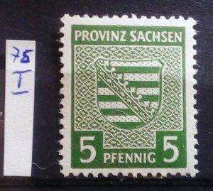 Germany Provinz Sachsen 75X Plate Flaw I mnh