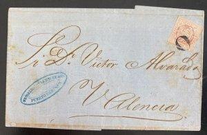 1880s Puerto Cabello Venezuela Letter Sheet Cover To Valencia Spain