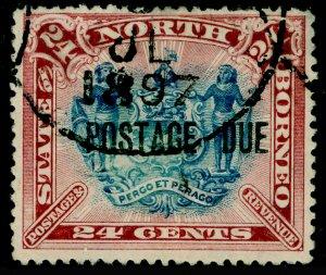 NORTH BORNEO SGD11b, 24c Blu&Rose Lake Postage Due Perf 13½-14, FU.Cat £55.