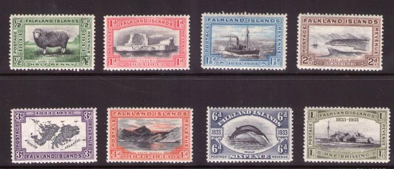 FALKLAND ISLANDS CENTENARY 1933 SET to 2/6 lightly hinged.cat.£490.