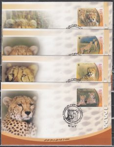 Persia, Scott cat. 2876 A-D. Cheetahs, W.W.F. issue. 4 First day covers.