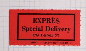 Express Special Delivery PS Label 57 GPO c43-16-74142-2 Stamp POD Form etiquette