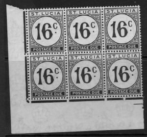 ST.LUCIA SGD10 1949 16c POSTAGE DUE ORDINARY PAPER MNH BLOCK OF 6