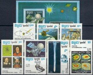 1986 Cambodia Halley´s Comet, Space, Souvenir Sheet+compl. set VF/MNH, CAT 13$