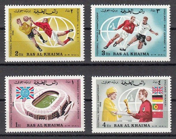 Ras Al Khaima, Mi cat. 152-155 A. World Cup Soccer, England`s Victory issue.