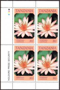 TANZANIA 318 MH BLOCK/4 SCV $1.40 BIN $0.70 FLOWERS