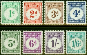 Gilbert & Ellice Islands 1940 P.Due Set of 8 SGD1-D8 Fine & Fresh Mtd Mint