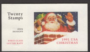 Scott 1991 Christmas Booklet pane of 4 for 2579, 2582a-2585a