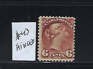 CANADA SCOTT #43 1888-97 SMALL QUEEN 6 CENT (ROSE RED) MINT HINGED