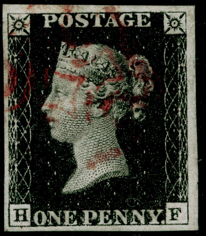 SG2, 1d black PLATE 6, FINE USED. Cat £400. RED MX. 4 MARGINS. HF