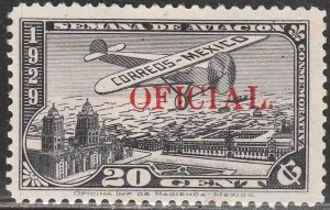 MEXICO CO11VAR, OFFICIAL AIR MAIL, RED OVERPRINT. UNUSED, H OG. F-VF.