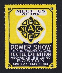 REKLAMEMARKE POSTER STAMP POWER SHOW & TEXTILE EXHIBITION BOSTON 1914