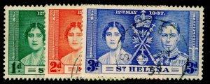 ST. HELENA SG128-130, COMPLETE SET, FINE USED. CORONATION.