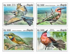 ANGOLA - 2018 - Bee-Eaters - Perf 4v Sheet - MNH