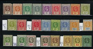 CEYLON SCOTT #226-243 1921-33 GEORGE V WMK 4 SHORT SET (SOME DIES)- MINT HINGED