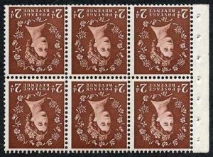 SB76a 2d Dark Red-Brown wmk Edward Inverted Pane of 6 U/M