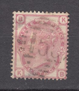 J27445 1873-80 great britain used #61 queen plate 14