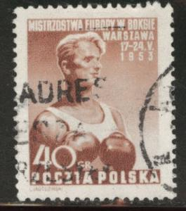 Poland Scott 575 used 1952 boxer stamp