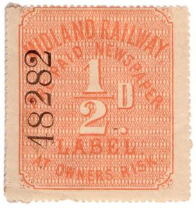 (I.B) Midland Railway : Newspaper Parcel ½d (larger format)