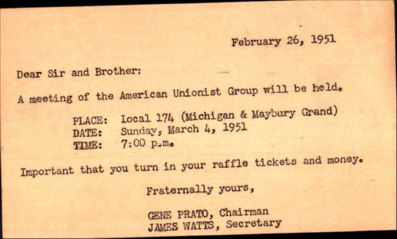 American Unionist Group Meeting 1951 Ad Card Michigan Cancel