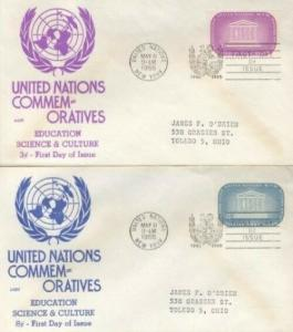 UN #33/34 UNESCO 1955 - Anderson set of 2