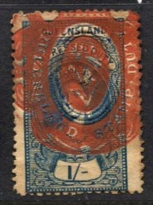 STAMP STATION PERTH  Queensland #Impressed Duty Stamp 1/-  Used - Unchecked