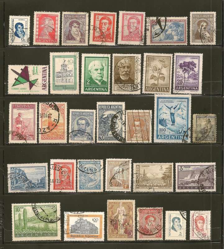 Argentina Collection of 32 Different Older Stamps Used